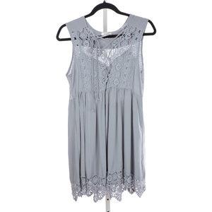 UMGEE Boho Swing Crochet Gray Dress Small